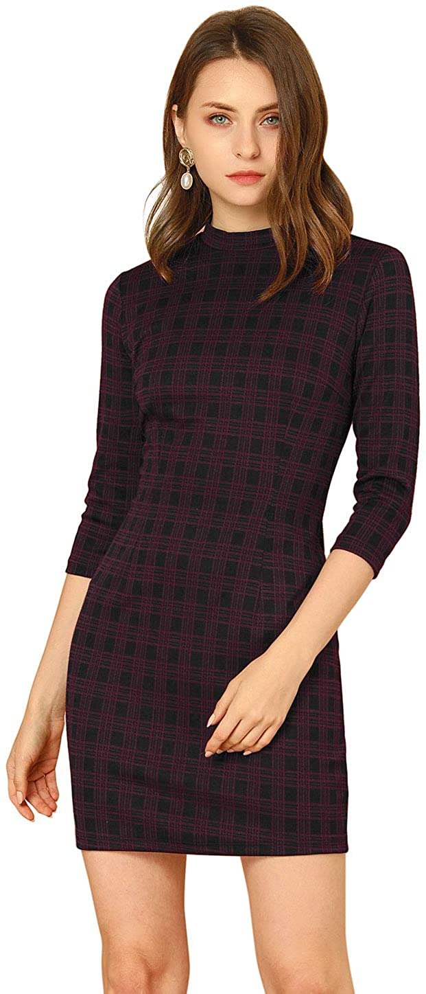 Allegra K Women's Work Mock Neck 3/4 Sleeve Vintage Bodycon Check Plaid Dress