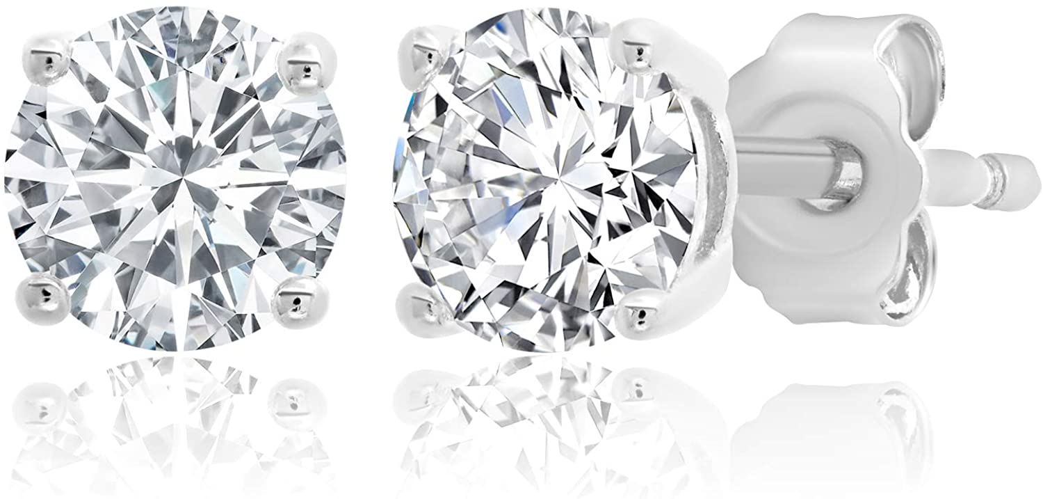Parade of Jewels Plated Sterling Silver Cubic Zirconia Stud Earrings (Round & Princess)