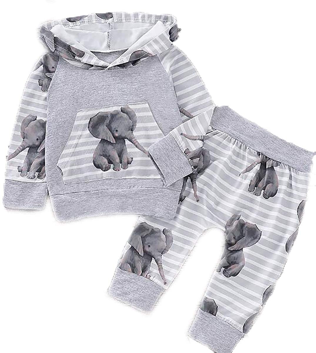 ROSEBEAR Newborn Unisex Baby Elephant Hoodie Top Pants Pocket Outfit Fall Winter Clothes
