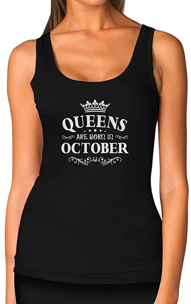 TeeStars - Birthday Gift for Women - Queens are Born in October Women Tank Top