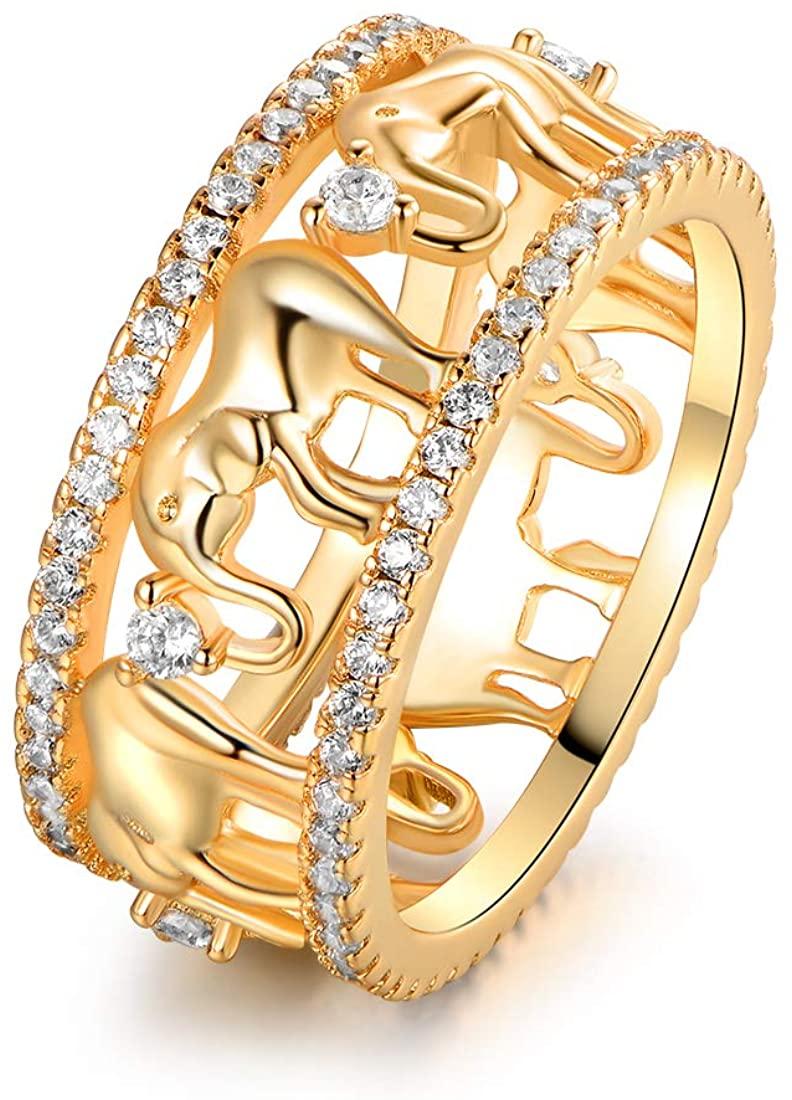Barzel 18k Gold & 2-Tone Plated Elephant Cubic Zirconia Eternity Ring