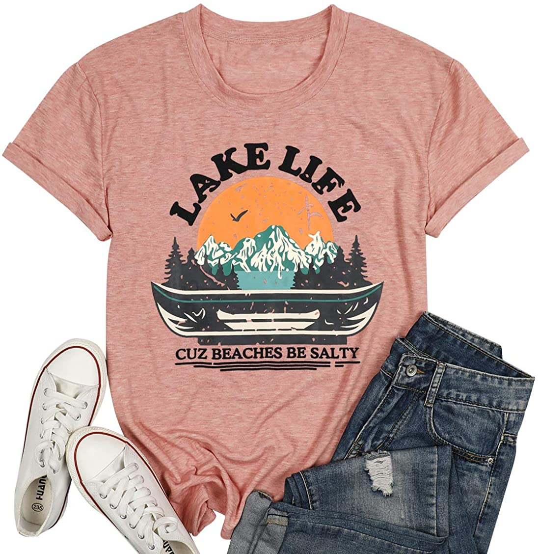 Lake Life Shirt for Women Letter Print Funny Graphic T-Shirt Short Sleeve Round Neck Summer Casual Beaches Tee Tops
