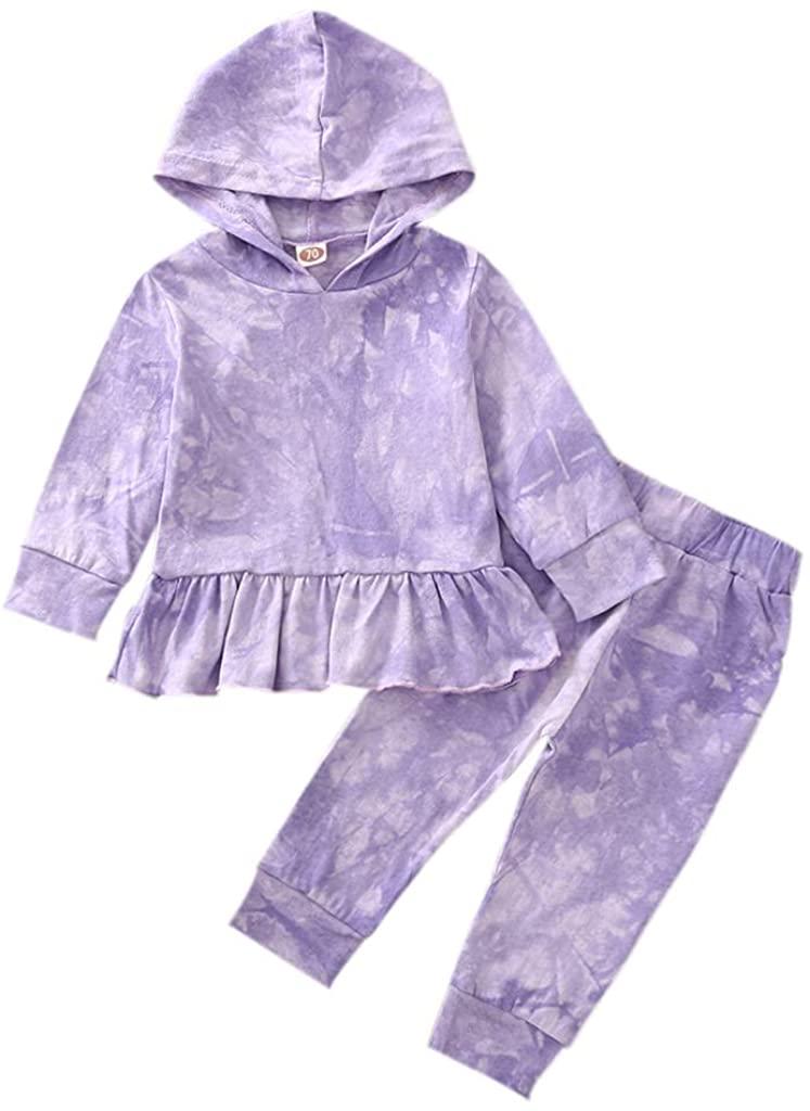 Flashing boy Toddler Baby Girl 2 Piece Long Sleeve Tie-Dye Hoodie Activewear Outfits Fall Winter Dress Pants Set