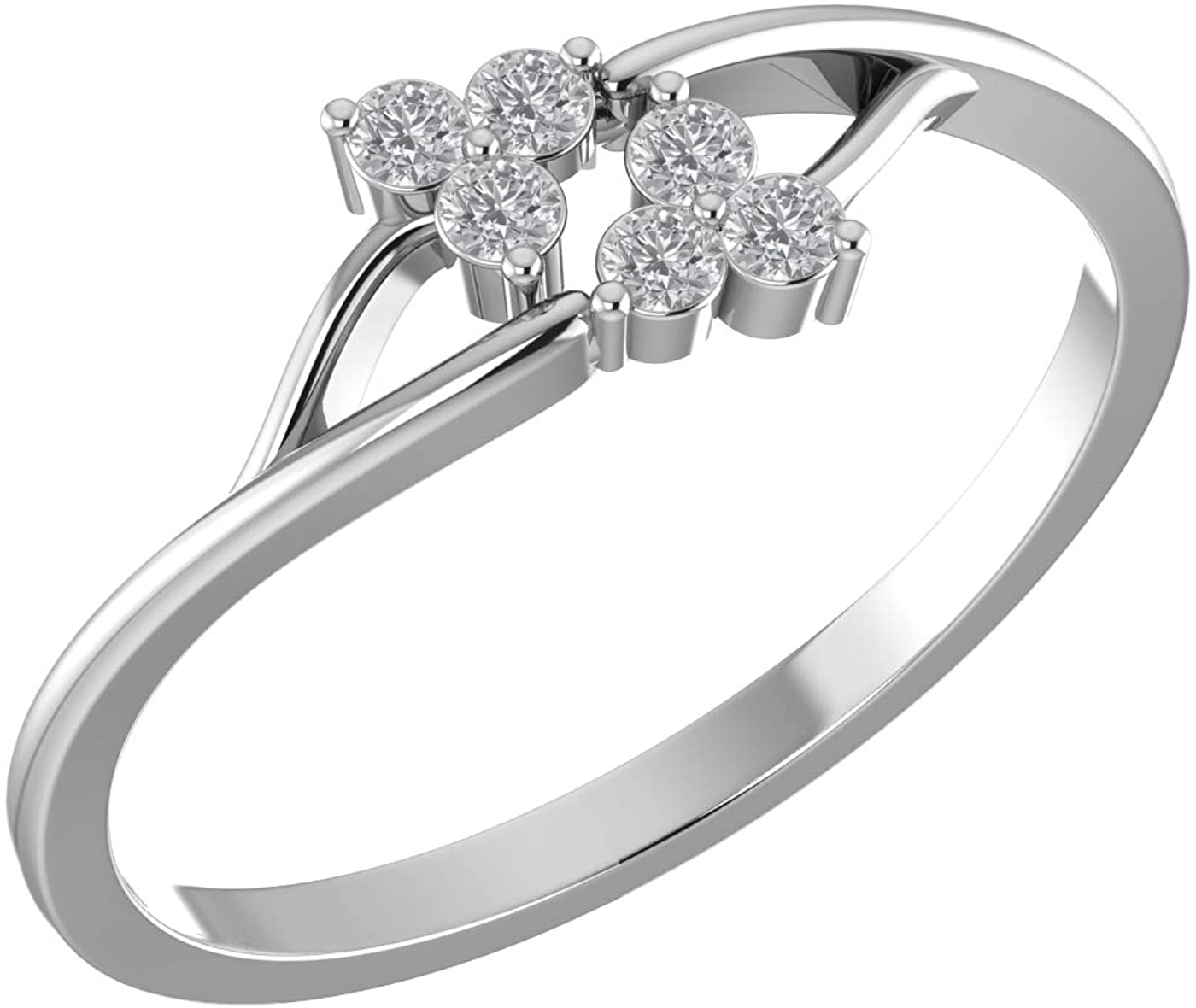 Amayra Diamond Ring 0.13 CTW-6 Natural Round Stones Set in 925 Sterling Silver- Brilliant Cut- Perfect for Bridal Promise Ring,Anniversary,Daily wear or Parties (Color-GH Clarity-VS-SI)