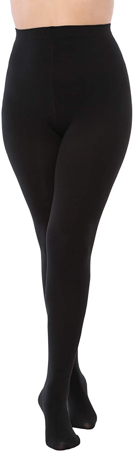 LASETA 2 Pairs Plus Size Opaque Tights Control Top Pantyhose High Waist Tights for Women