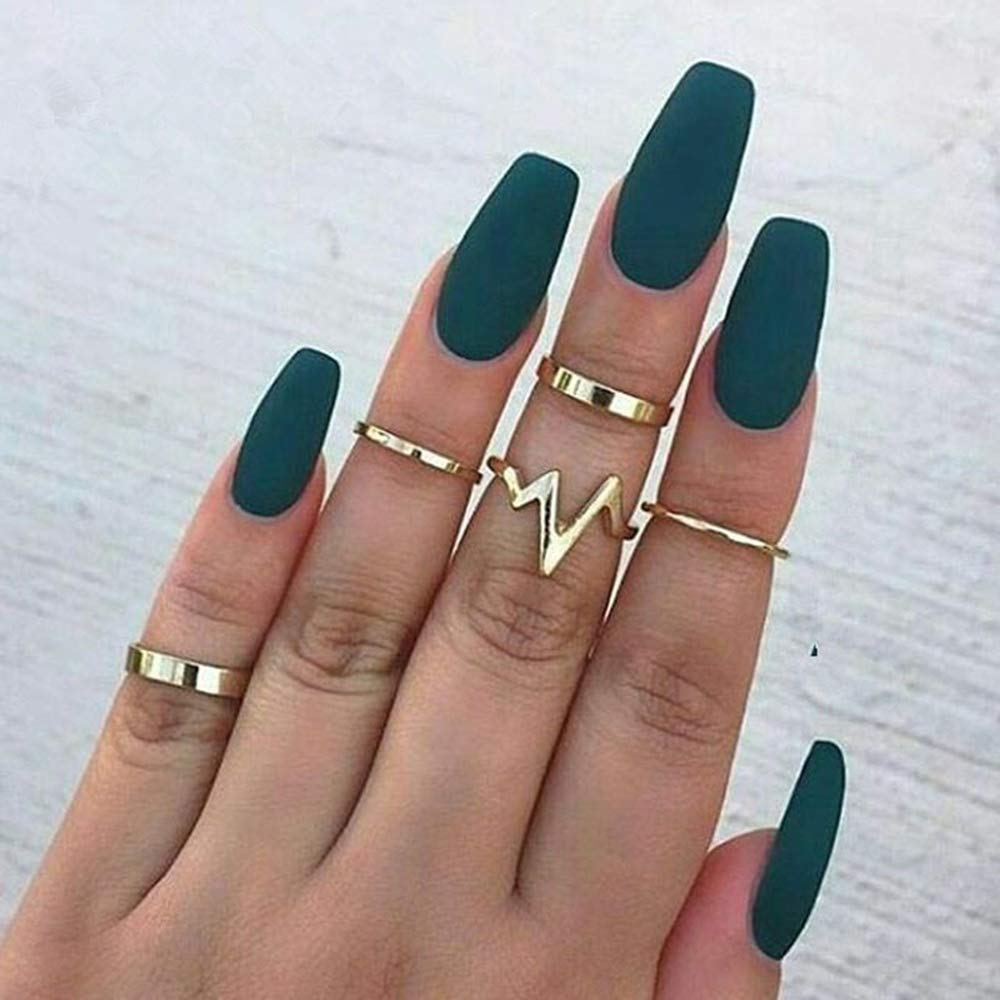 BERYUAN Women 5Pcs Bohemian Knuckle Simple Set Vintage Silver Gold Joint Knuckle Ring Set for Women and Girls (silver)