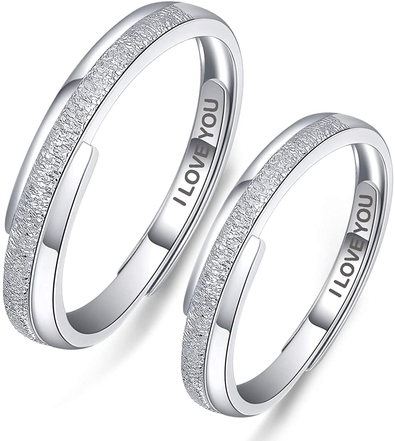 Aooaz Promise Rings for Couples, S925 Sterling Silver Rings Set I Love You Engagement Adjustable