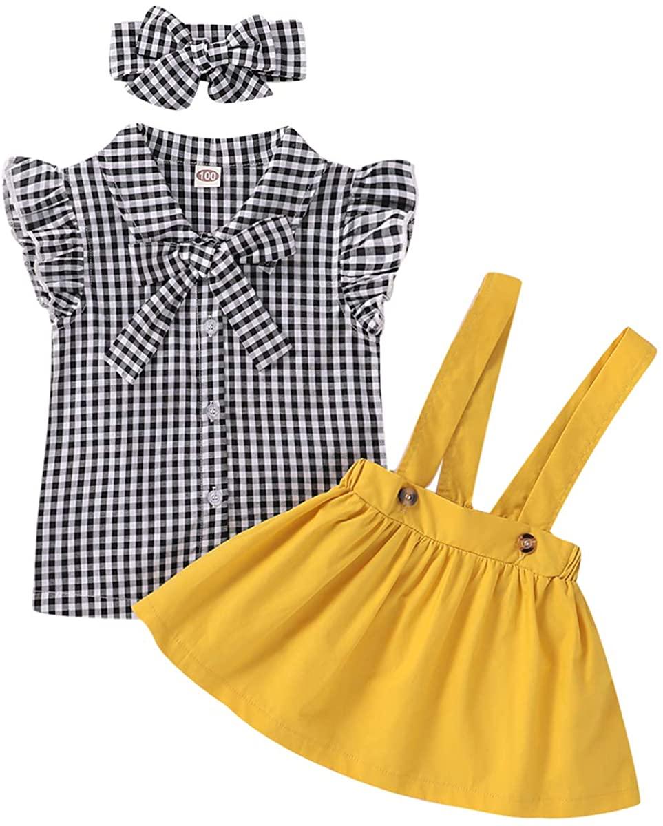 ROSEBEAR Toddler Baby Girl Fashion Suit, Plaid Shirt + Suspender Skirt + Headband Children Clothing for 3M-3Y Baby Girls