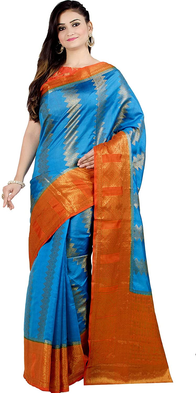 Chandrakala Women's Pure Silk Indian Ethnic Banarasi Saree with Unstitched Blousepiece(1332)