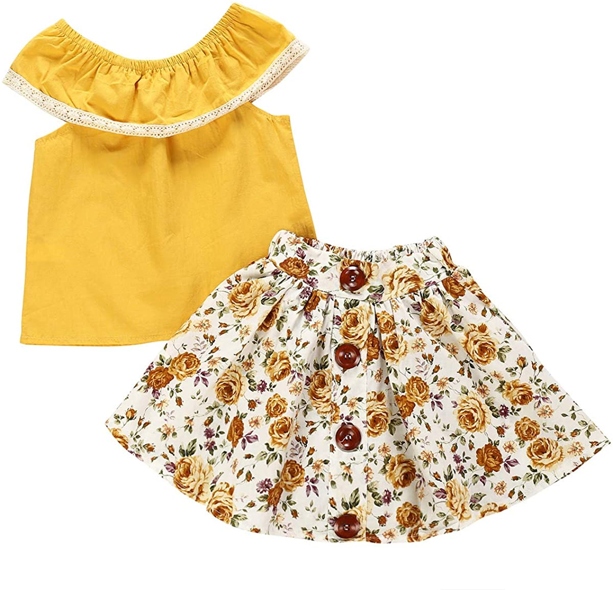 puseky 2pcs/lot Kids Baby Girl Fashion Summer Clothes Outfits Suit Shirt + Floral Skirt
