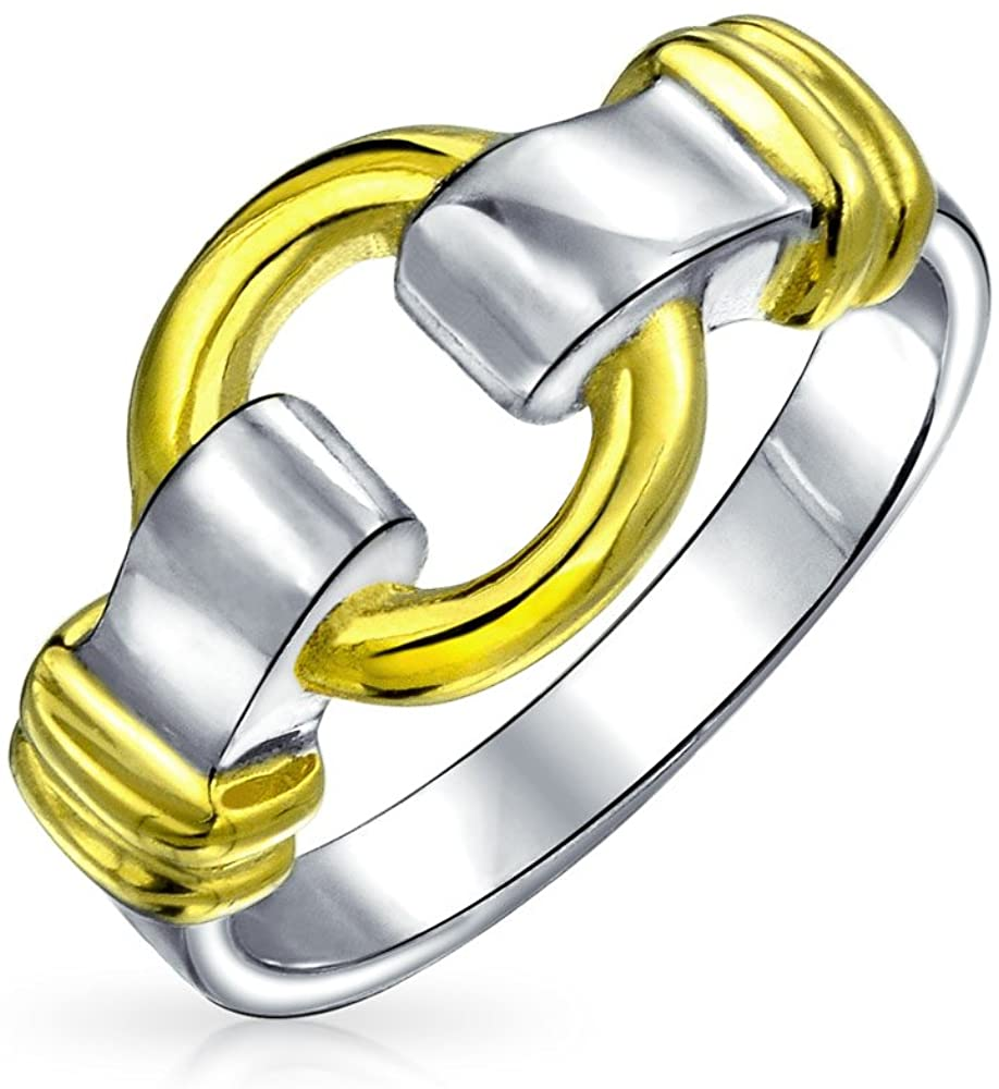 Geometric Two Tone Round Circle Buckle Promise Ring For Women 14 KT Gold Plated 925 Sterling Silver