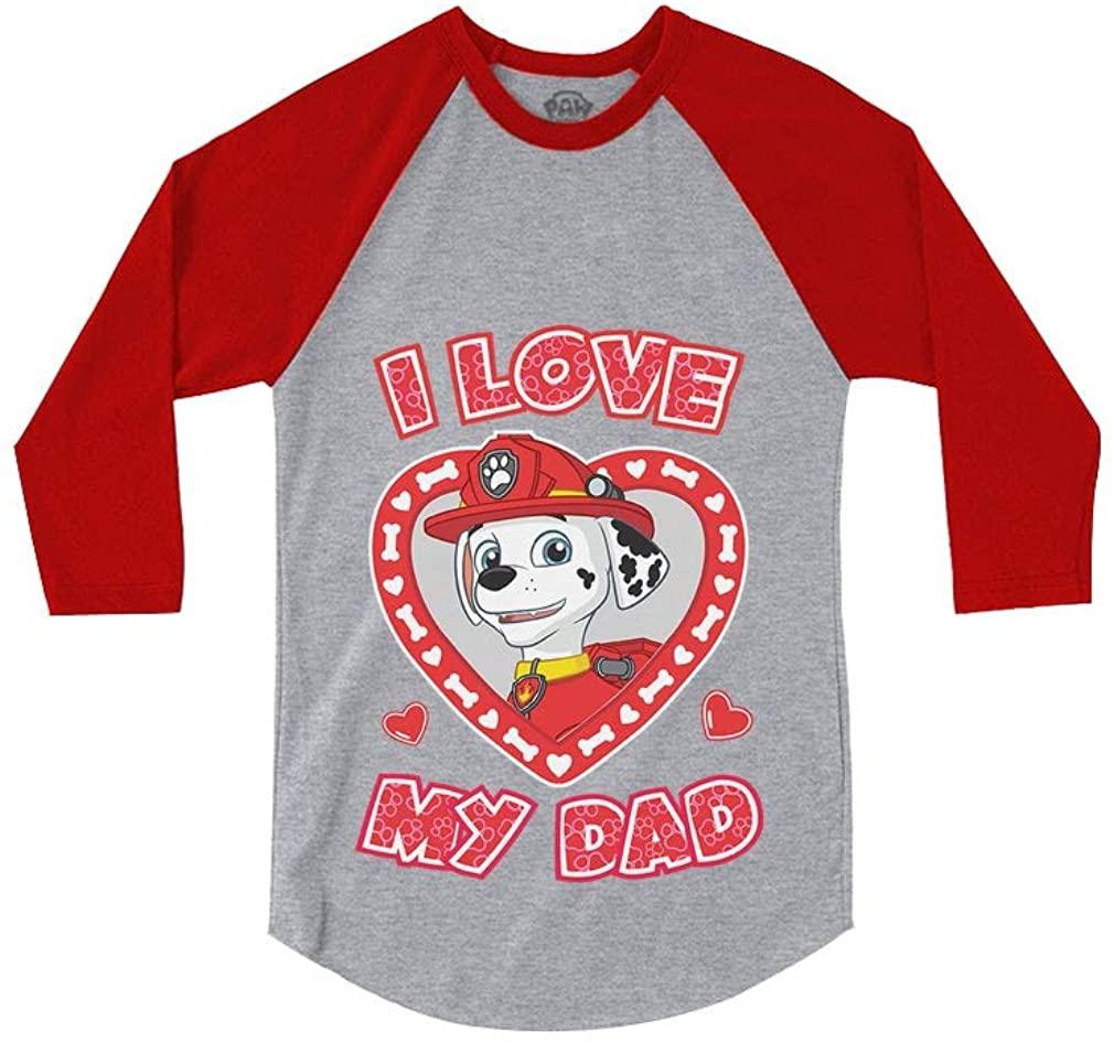 Marshall Paw Patrol - I Love My Dad 3/4 Sleeve Baseball Jersey Toddler Shirt