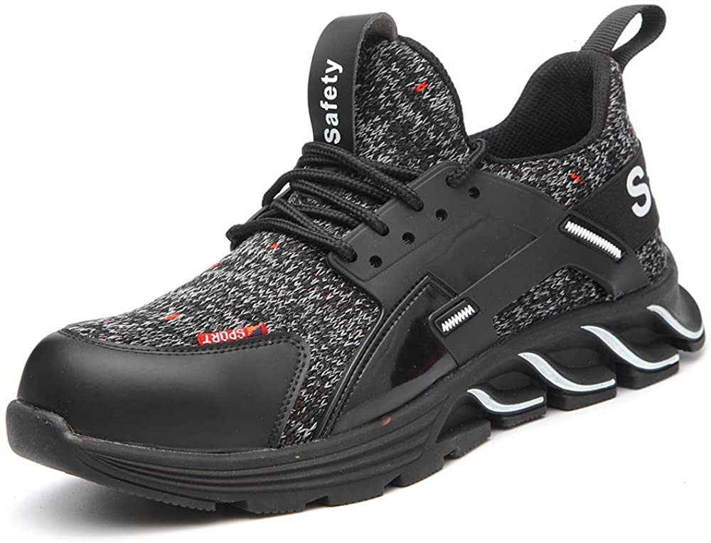 Vaneemor Work Men's Steel Toe Shoes Safety Shoes for Women Lightweight Industrial & Construction Sneakers