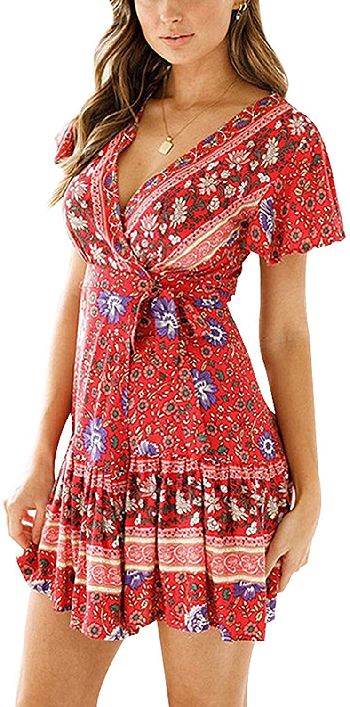 AEL Womens Floral Print Bohemian Dresses Short Sleeve Beach Vintage Party Wrap Mini Dress with Belt