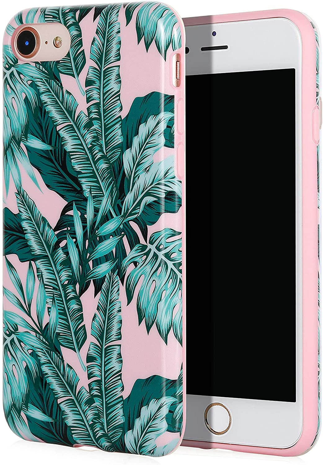 SunshineCases Tropical iPhone Case (Compatible: Apple iPhone SE 2020 / iPhone 8 / iPhone 7 Case) Slim, Cute and Protective Phone Case Cover for Women & Girls, Easy to Grip (Pink Jungle Leaves)