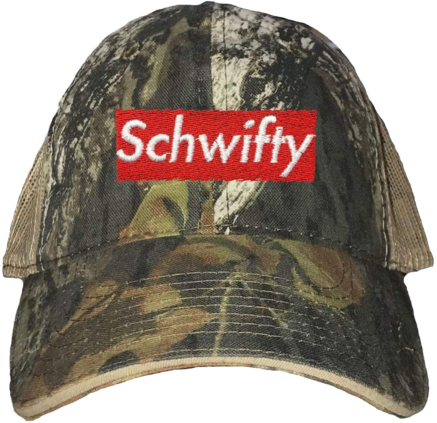 Go All Out Adult Schwifty Embroidered Distressed Trucker Cap