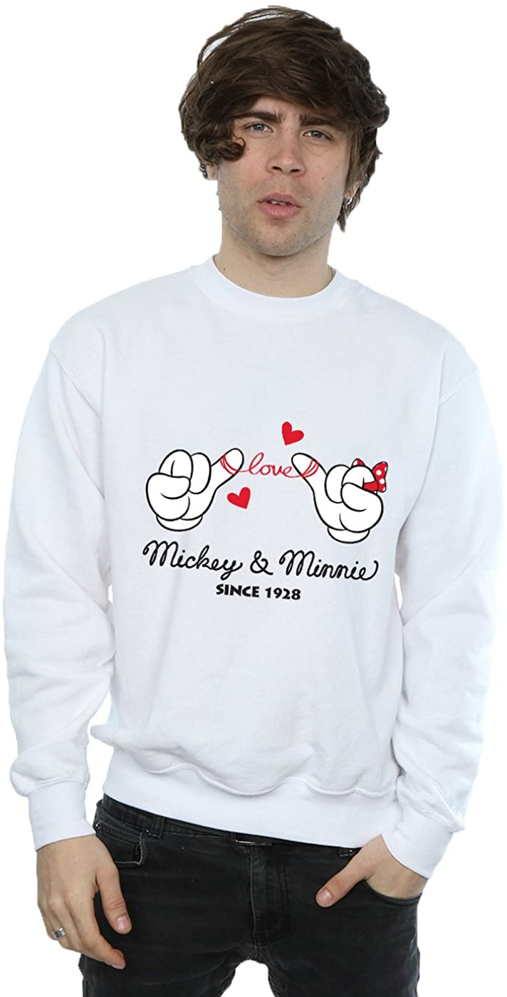 Disney Men's Mickey Mouse Love Hands Sweatshirt White X-Large