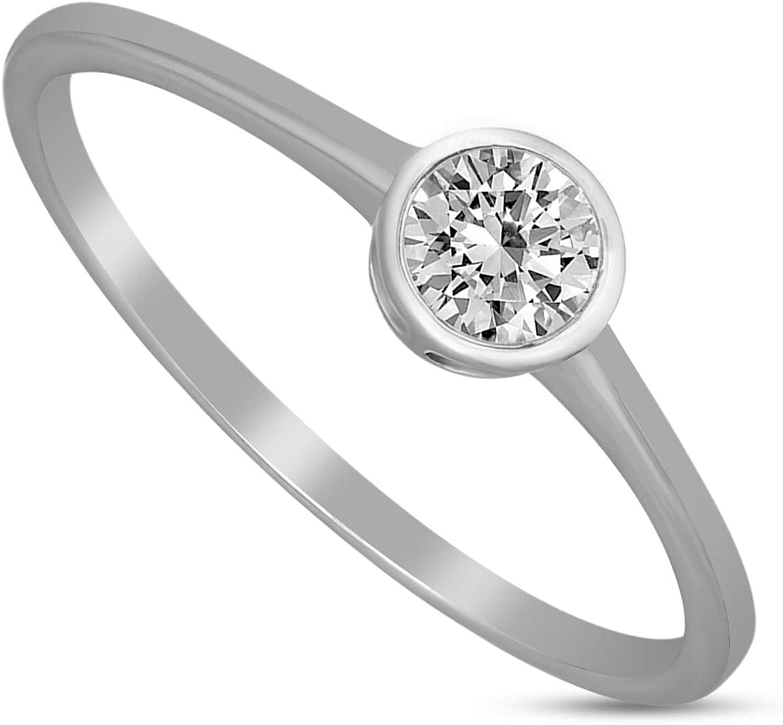 Friendly Diamonds 14K Gold 1/3 Carat Diamond Ring IGI Certified 14K White Gold Lab Grown Diamond Rings for Women Lab Created Diamond Bezel Setting Solitaire Rings For Women