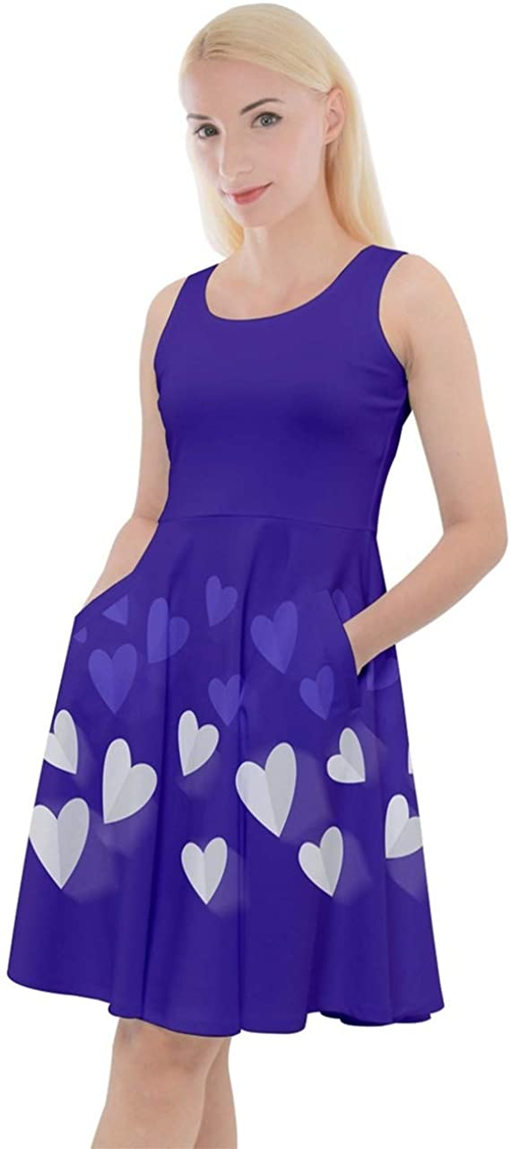 CowCow Womens Cocktail Party Dress Valentines Day Heart Pattern Knee Length Skater Dress with Pockets, XS-5XL