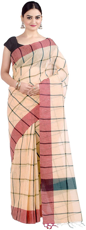 Chandrakala Women's Cotton Linen Blend Indian Ethnic Banarasi Saree with unstitched Blousepiece(1335)