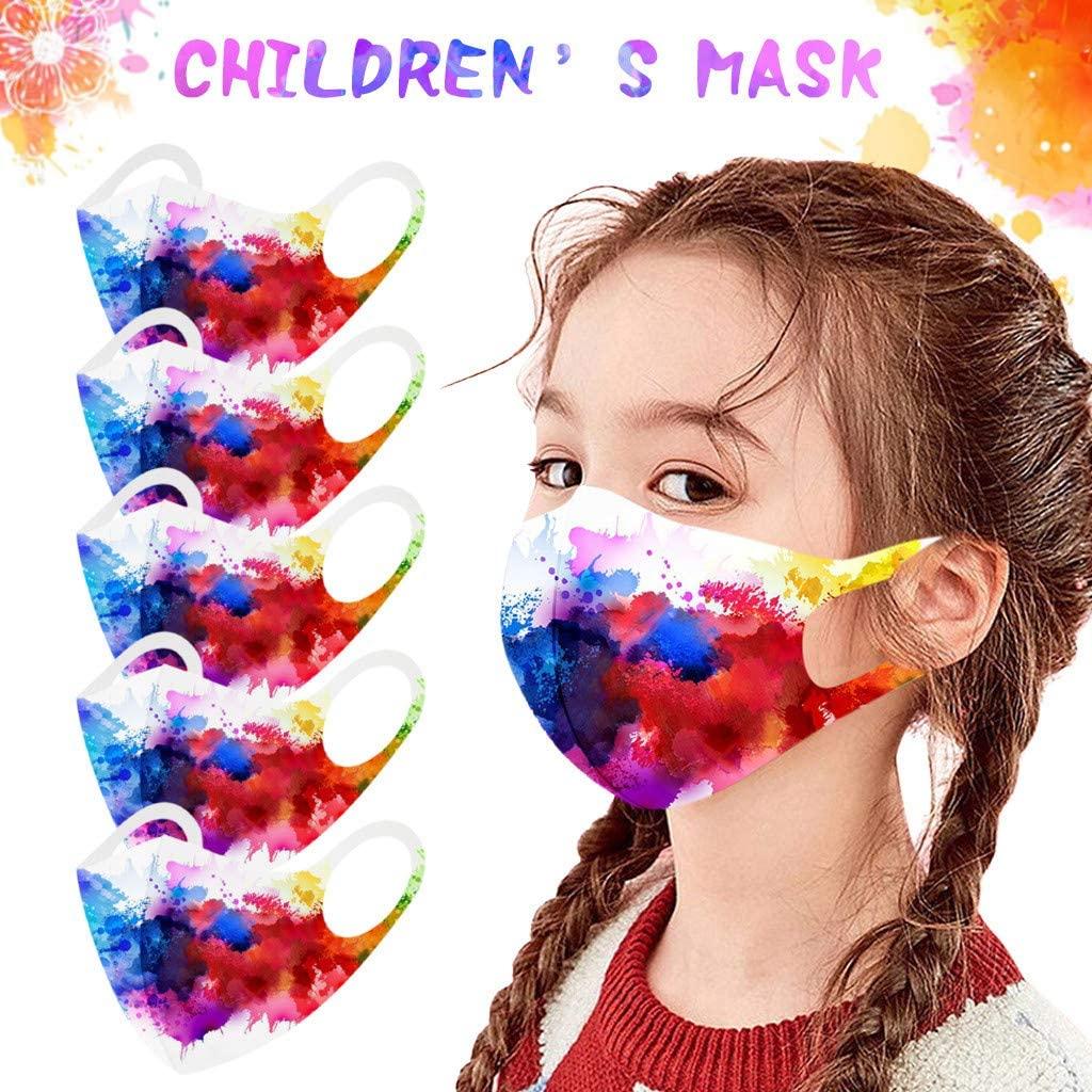 Face Masks for Kids, 5PC Kids Children Face Mask Reusable Tie Dye Print Washable Cotton Face Masks for Kids Boys Girls