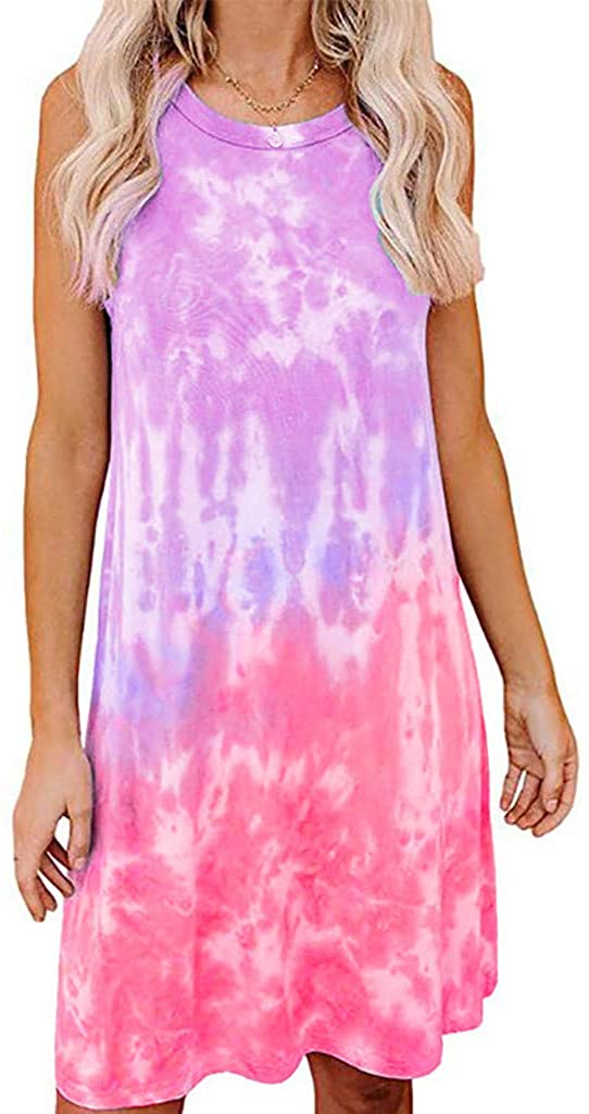 Liuxuelifg3 Summer Dresses for Women, Women's Sleeveless Mini Dress Plus Size Tie Dye Print Dress Summer Casual Loose