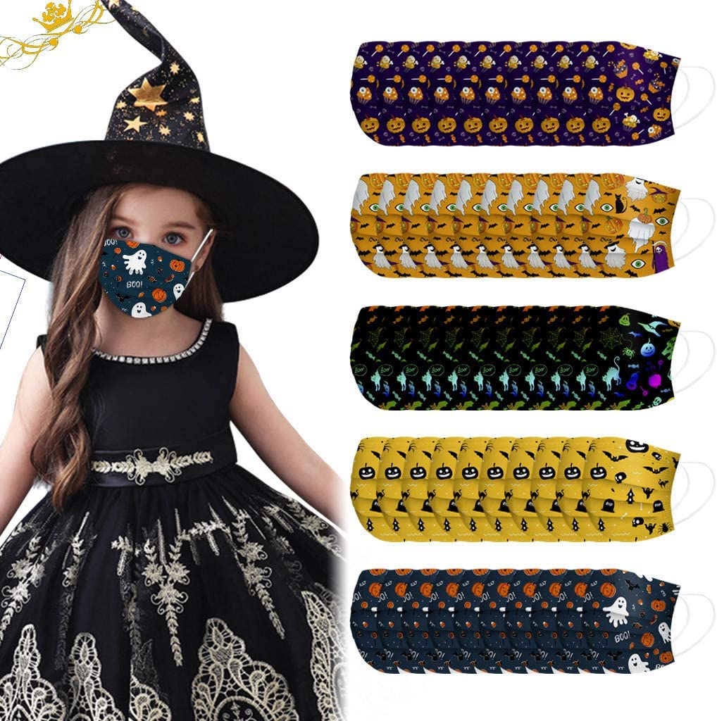 Halloween Theme Disposable Face Bandanas, 50Pcs 3 Ply Non-Woven, Cloth Mouth Covering, No Washable, Breathable and Anti-Haze, for Kids (Halloween A)