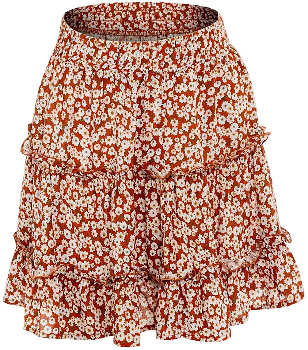 Alcea Rosea Women's Mini Skirt Ruffle Frill Wrap Stretch Waist Skirt Beach Short Skirt