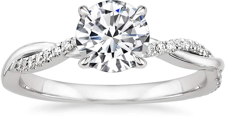 Engagement Ring 1 Carat Center Twisting Infinity Pave Set Moissanite Engagement Rings for Women 14k White Gold