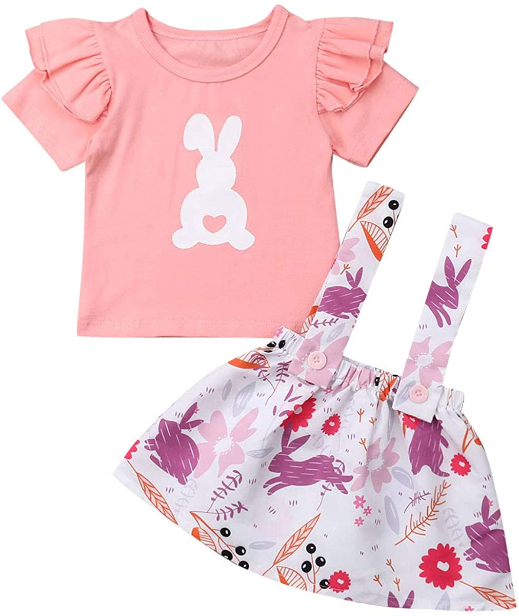 2PCS Infant Baby Girl Clothes Ruffle Short Sleeve Pink Rabbit T-Shirt Top+Easter Bunny Print Suspender Skirt
