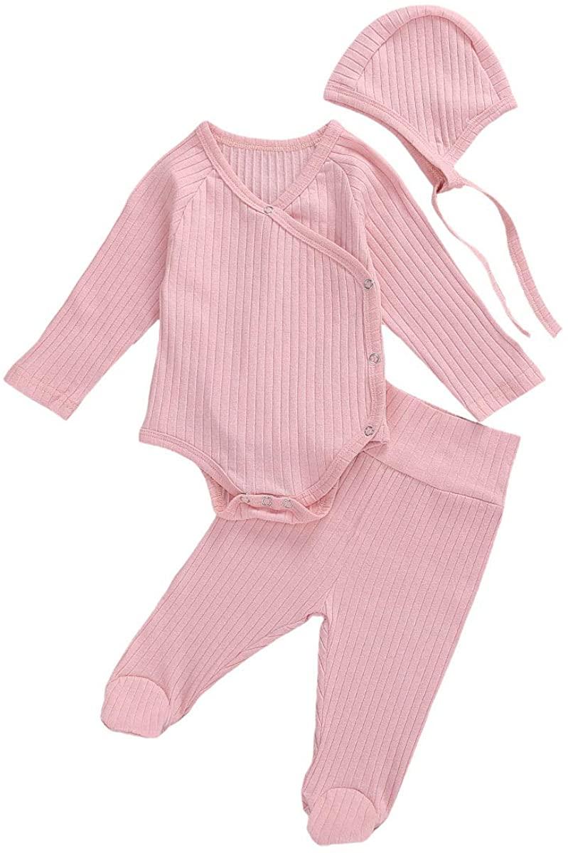 Newborn Baby Boy Girl Pajamas Romper Long Sleeve Kimono Side Snap Bodysuit Footie Pants Hats Fall Winter Clothes Set