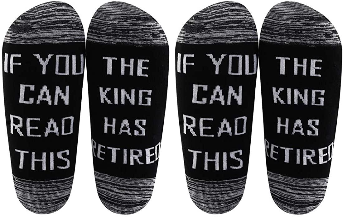 LEVLO Retired Gift for Him Mens Retirement Socks This King Has Retired Socks for Dad Grandpa Boss King Retired Socks