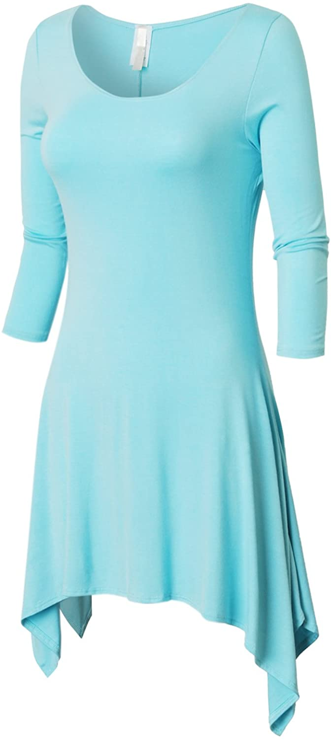 BEKTOME Womens 3/4 Sleeve Wide Boat Neck Tunic Dress with Unique Hem Line