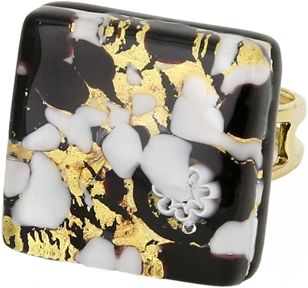 GlassOfVenice Murano Glass Venetian Reflections Square Adjustable Ring - Black Gold