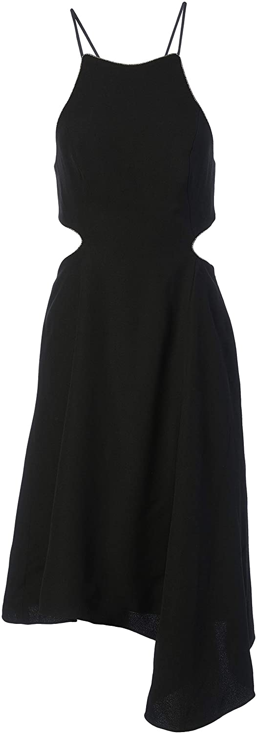 Halston Heritage Womens Halter Dress with Back Cut Out and Chain Piping