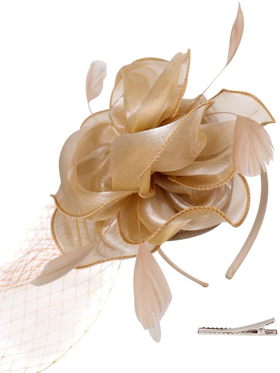 FELIZHOUSE Organza Tea Party Fascinator Hat Cocktail Party Hair Clip Headwear Kentucky Derby Headpiece for Women Girls