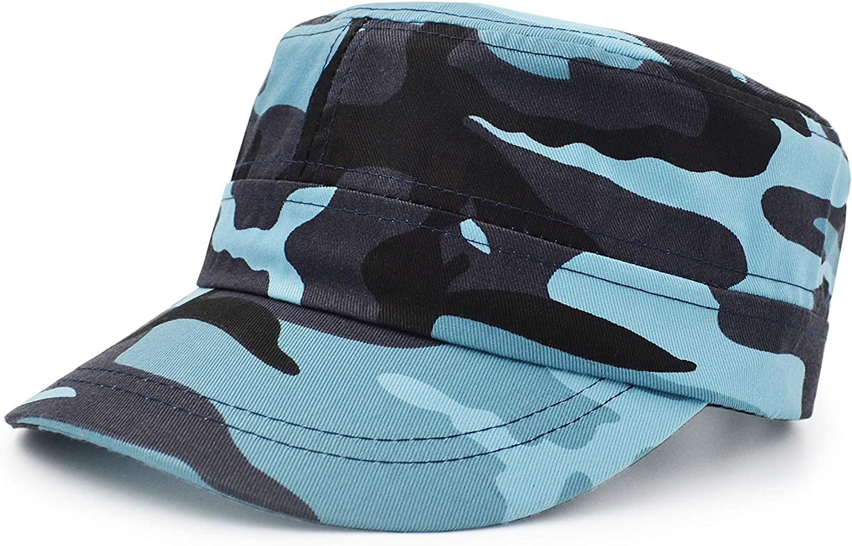 UltraKey Flat Top Baseball Cap, Men Women Cotton Baseball Twill Army Millitary Hat Cap