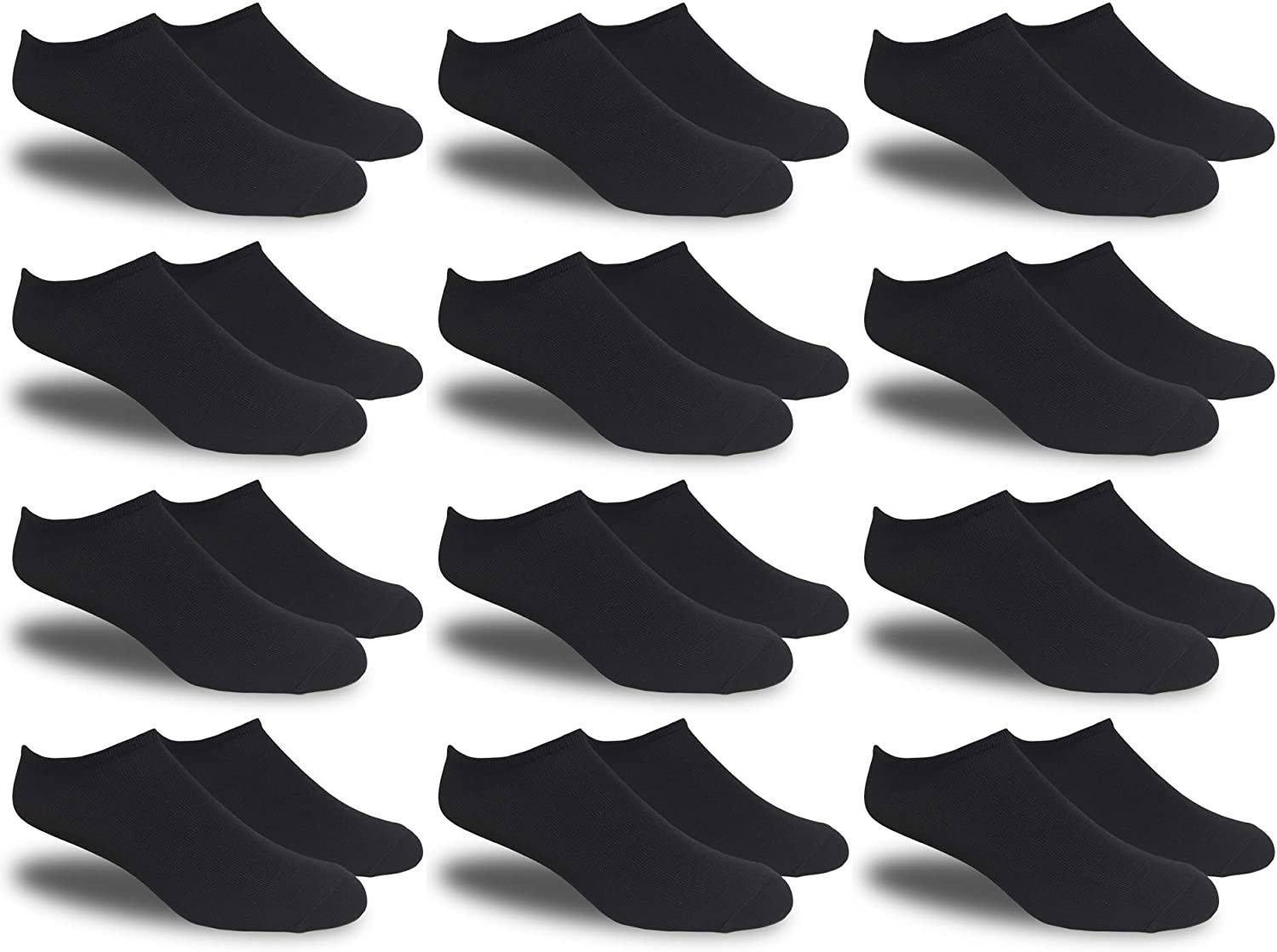 Womens White Thin and Lightweight Low-cut Ankle Socks - 12 Pairs