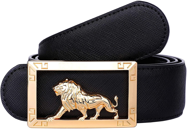 Men's Luxury Gold Three-dimensional Lion King Buckle Design Top Cowhide Belt