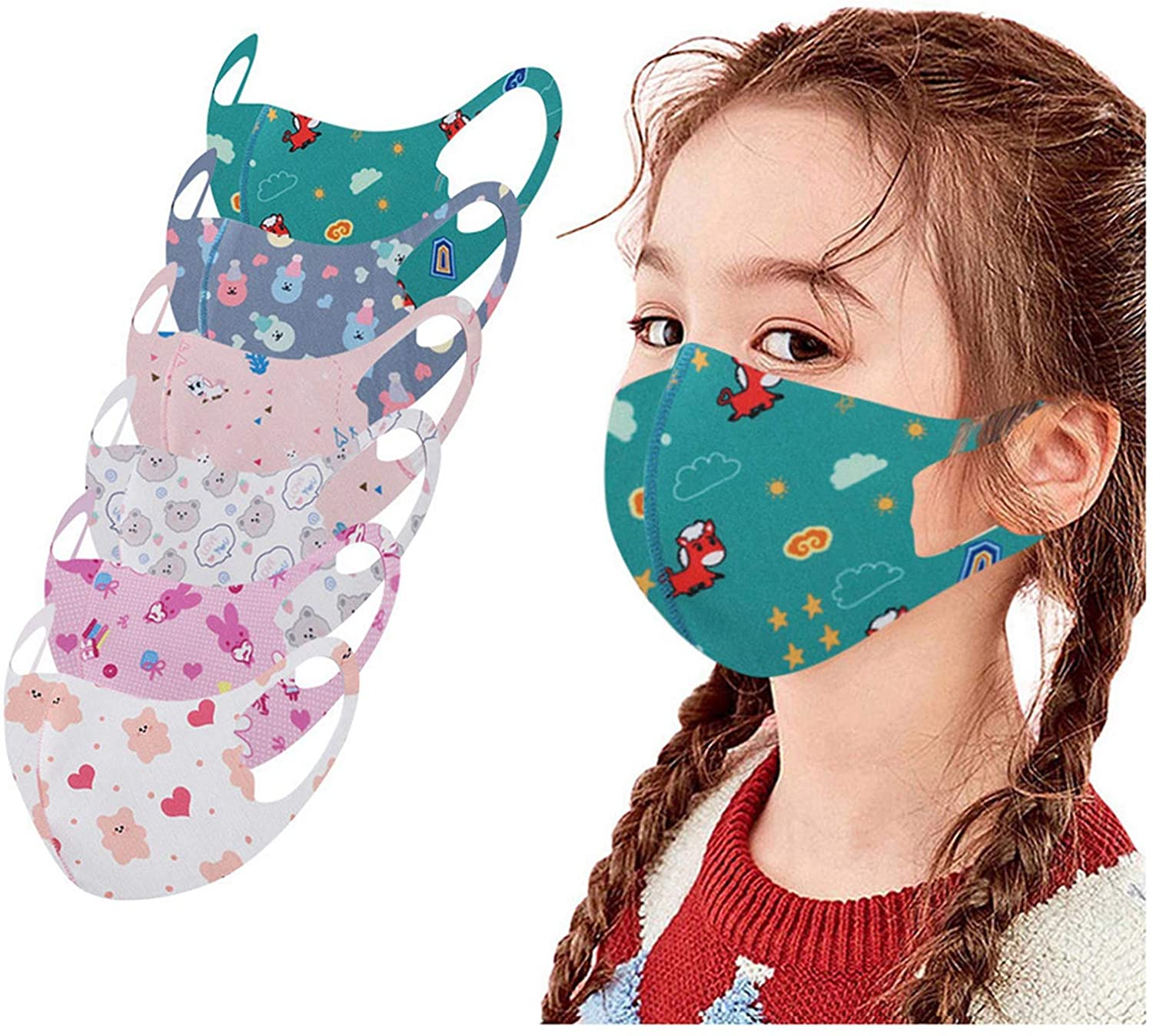 12pcs Kids Reusable Face_Masks Washable Cute Cartoon Breathable Seamless Face Covering for Children Boys Girls