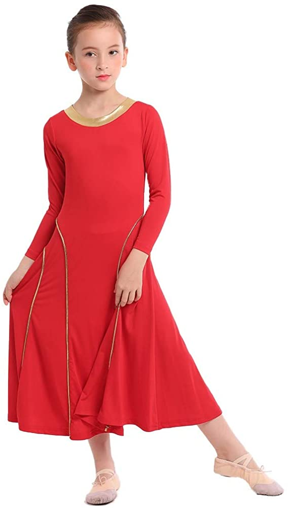 FMYFWY Girls Liturgical Praise Dance Robe Dress Metallic Seamed Long Sleeve Loose Fit Full Length Lyrical Worship Costume