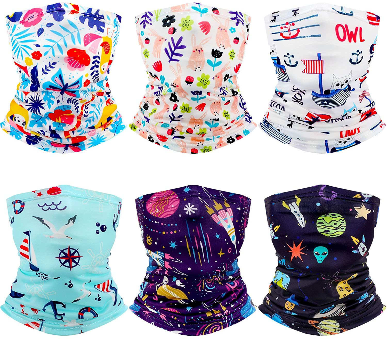 6 Pieces Kids Neck Gaiter Face Bandanas Scarf UV Sun Protection Headband Balaclavas for Children