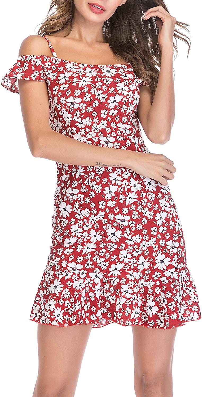 M MEIION Women's Dress Summer Strap Floral Printed Chiffon Cold Shoulder Loose Short Dress