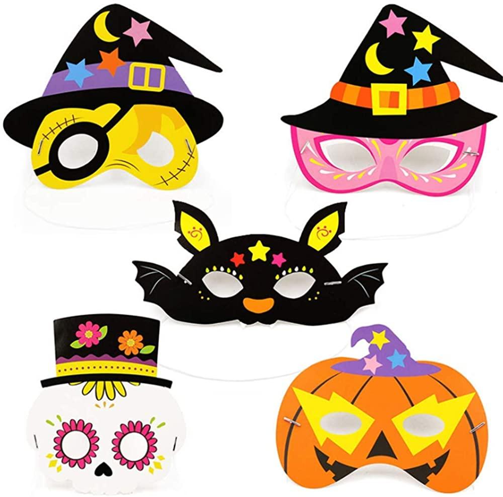 ZHU YU CHUN 10 Pcs Decoration Paper Mask Dress Up Masks for Halloween Birthday Party