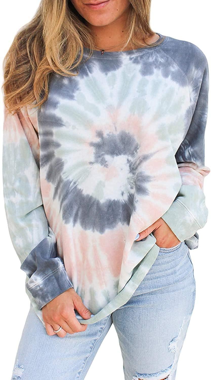 Oritina Women's Casual Color Block Tie Dye Crewneck Long Sleeve Loose Pullover Sweatshirt Tops