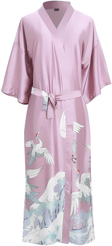 EORUBE Women's Kimono Robe Long Crane Print Satin Robe Bride Bridesmaid Night Dressing Gown Women Loungewear