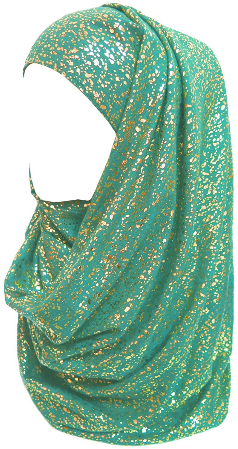 Lina & Lily Gold Glitter Plain Color Hijab Muslim Head Wrap Scarf Shawl