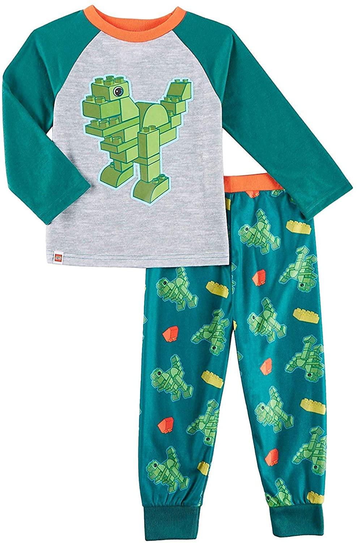 LEGO Duplo Dinosaur Trucks Toddler Boys Poly Top with Flannel Jogger Pants Pajamas Set