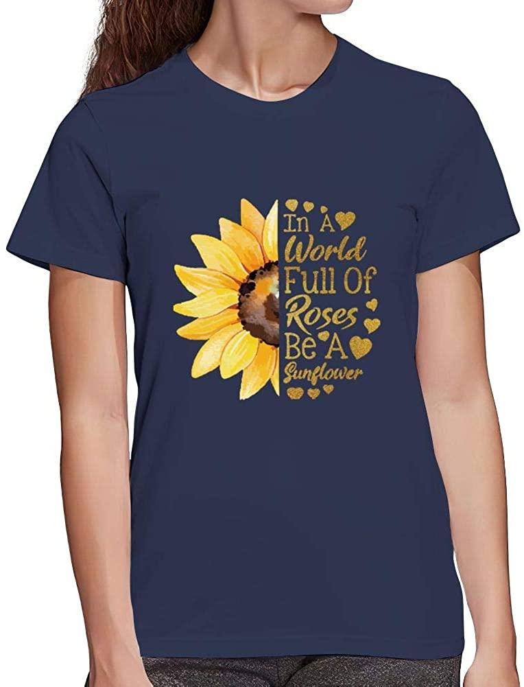Sunflower Shirts for Women Summer Short Sleeve Cute Graphics Tee Tops