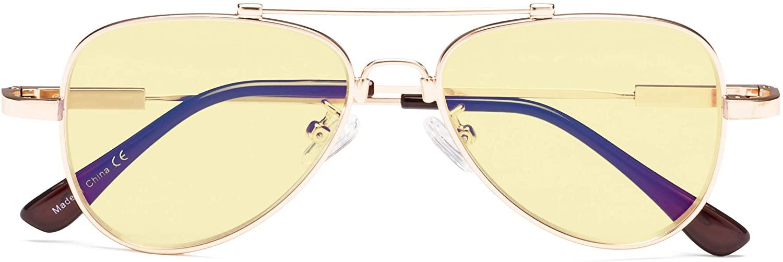 CessBlu Kids Blue Light Blocking Glasses Yellow Filter Anti Glare UV Rays Eyeglasses Bendable Pilot Design for Boys Girls